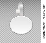 wobbler mockup with transparent ... | Shutterstock .eps vector #761347489