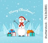 joyful snowman on the... | Shutterstock . vector #761363881