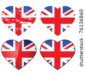 Set of four vector Union Jack flags shaped like a heart - stock vector