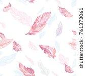 elegant feather vector pattern...   Shutterstock .eps vector #761373061