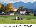 tractor hay bale wrapper ... | Shutterstock . vector #761373445