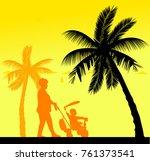 grandmother walking with her...   Shutterstock .eps vector #761373541