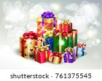 boxing day sale poster. gift... | Shutterstock .eps vector #761375545