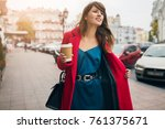 stylish beautiful woman walking ... | Shutterstock . vector #761375671