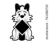 dog with roadsign cartoon | Shutterstock .eps vector #761380735