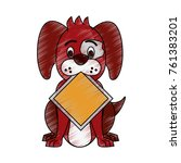 dog with roadsign cartoon | Shutterstock .eps vector #761383201