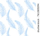 hand drawn cute blue feather on ... | Shutterstock .eps vector #761385094