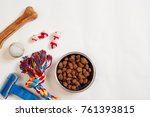 dog food in metallic bowl and... | Shutterstock . vector #761393815