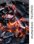 Burning coal - stock photo