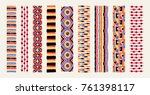 set of ethnic art brushes in... | Shutterstock .eps vector #761398117