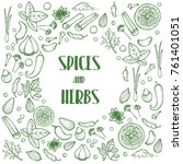 hand drawn herbs and spices... | Shutterstock .eps vector #761401051