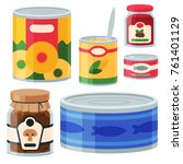 collection of various tins... | Shutterstock .eps vector #761401129