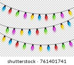 christmas glowing lights on... | Shutterstock .eps vector #761401741
