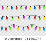 christmas glowing lights on... | Shutterstock .eps vector #761401744