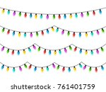 christmas glowing lights on... | Shutterstock .eps vector #761401759