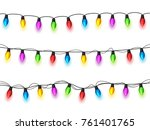christmas glowing lights on... | Shutterstock .eps vector #761401765