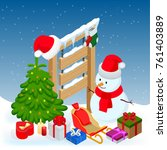 new year and merry christmas... | Shutterstock .eps vector #761403889