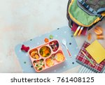 open lunch box with healthy kid'... | Shutterstock . vector #761408125