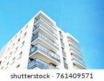 modern apartment buildings on a ... | Shutterstock . vector #761409571