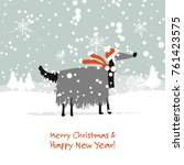 christmas card  santa dog in... | Shutterstock .eps vector #761423575