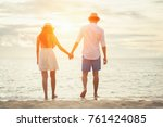loving couple enjoying walking... | Shutterstock . vector #761424085