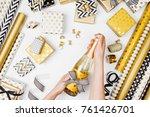 female hands holding champagne... | Shutterstock . vector #761426701