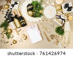 mockup card and notebook on... | Shutterstock . vector #761426974