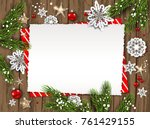 festive christmas card with fir ... | Shutterstock .eps vector #761429155