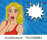 sexy surprised blond girl in... | Shutterstock . vector #761438881
