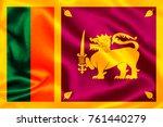 sri lanka flag   with waving... | Shutterstock . vector #761440279