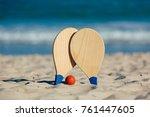 beach tennis  beach paddle ball ...   Shutterstock . vector #761447605
