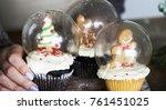 set of christmas cupcake snow... | Shutterstock . vector #761451025