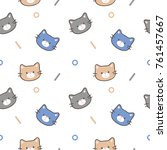 Stock vector seamless pattern of cute cartoon cat face design on white background 761457667