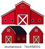 red barns in three designs... | Shutterstock .eps vector #761458531