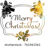 christmas label with silhouette ... | Shutterstock .eps vector #761461561