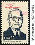 Small photo of UNITED STATES OF AMERICA - CIRCA 1986: stamp printed in USA shows 33rd president Harry S. Truman (1945-1953); Presidents; Ameripex 86; Scott 2219 A1599 22c; circa 1986