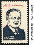 Small photo of UNITED STATES OF AMERICA - CIRCA 1986: stamp printed in USA shows 31st president Herbert C. Hoover (1929-1933); Presidents; Ameripex 86; Scott 2219 A1599 22c; circa 1986