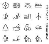 thin line icon set   box  panel ... | Shutterstock .eps vector #761473111