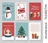 set of cute christmas cards ... | Shutterstock .eps vector #761482744