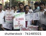 congress activist hold poster... | Shutterstock . vector #761485021