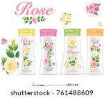 design a bottle of rose shampoo ... | Shutterstock .eps vector #761488609
