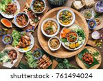 tradition northern thai food.... | Shutterstock . vector #761494024