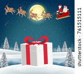 gift box on snow with santa... | Shutterstock .eps vector #761515111