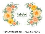 yellow autumn flowers.... | Shutterstock .eps vector #761537647