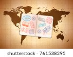 open foreign passport with... | Shutterstock .eps vector #761538295