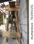 internal wooden scaffolding...   Shutterstock . vector #761541151