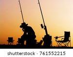 silhouette of fishing man in...   Shutterstock . vector #761552215