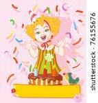 vector illustration  cute girl... | Shutterstock .eps vector #76155676