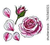 rosebud. rose flower. sketch of ... | Shutterstock .eps vector #761560321
