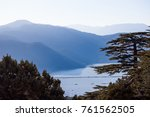 panoramic view with tree on... | Shutterstock . vector #761562505